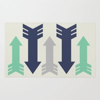 green arrow Area & Throw Rugs featuring Arrow, Arrow, Arrow. What's going on 'ere then? by Lisa Jayne Murray - Illustration