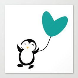 Penguin in love White Canvas Print