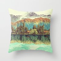 japanese Throw Pillows featuring The Unknown Hills in Kamakura by Kijiermono