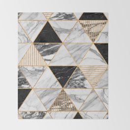 Marble Triangles 2 - Black and White Throw Blanket