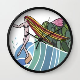 flowers and sea Wall Clock