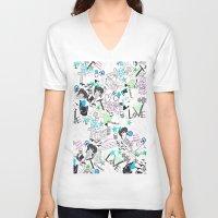 cartoon V-neck T-shirts featuring Cartoon Pattern by Eduardo Doreni