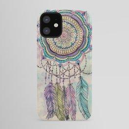 Modern tribal hand paint dreamcatcher mandala design iPhone Case