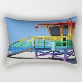 Rainbow Lifeguard Stand (Venice, California) Rectangular Pillow