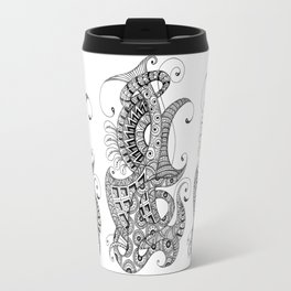 Zentangle art 1, abstract graphic-design, Black and white, ink handdrawing Travel Mug