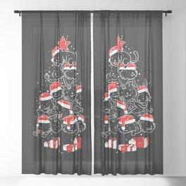 Pile of Xmas Cat Sheer Curtain