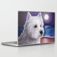 westie Laptop & iPad Skins featuring White Westie Dog by ArtbyLucie