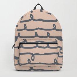 Minimalist Doodle Stripe Navy Gray on Blush Pink Backpack