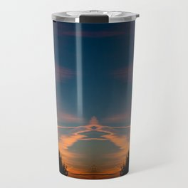 Evening aeroplane contrails sunset Travel Mug
