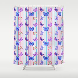 Butterflies and Stripes Pattern Shower Curtain