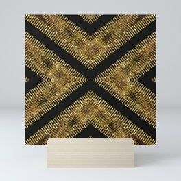 Black Gold   Tribal Geometric Mini Art Print