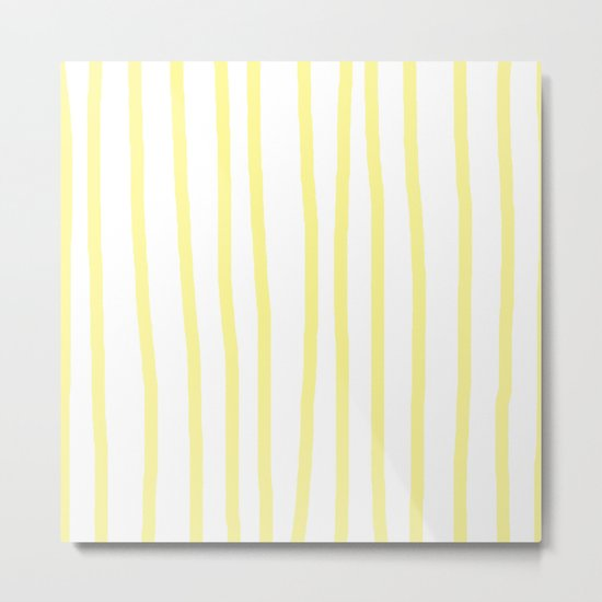 Simply Drawn Vertical Stripes in Pastel Yellow Metal Print