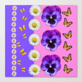 PINK-LILAC & PURPLE PANSY DAISY SPRING FLOWERS Canvas Print