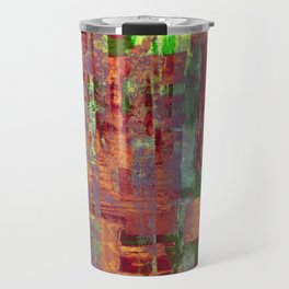 Overexposed - Abstract, textured painting in brown, orange and green Travel Mug