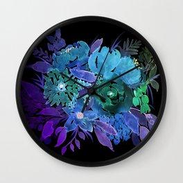 Negative flowers I Wall Clock