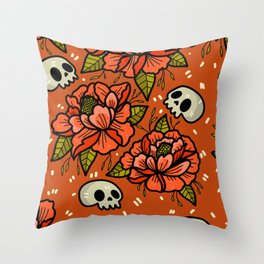 Subtle skulls~ orange tones Throw Pillow