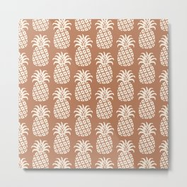 Mid Century Modern Pineapple Pattern Beige Brown Metal Print