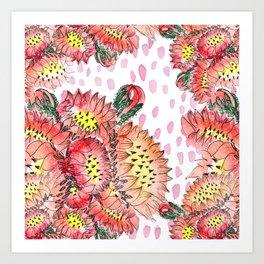Orange Cacti Flowers Art Print