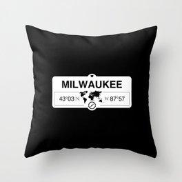 Milwaukee Wisconsin Map GPS Coordinates Artwork with Compass Throw Pillow