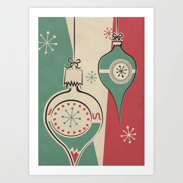 Retro Christmas.Retro Christmas Ornaments Art Print By Kathleenmkowal