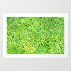Watercolor Grass Pattern Green by Robayre Art Print