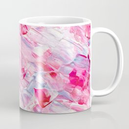 Pink white brushstrokes candy acrylic paint Coffee Mug