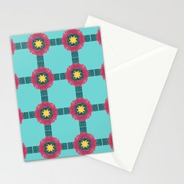 Retro Tiles Turquoise & Pink Stationery Cards