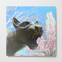 Pittsburgh Panther statue and Cathedral of Learning 30 Metal Print