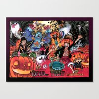one piece Canvas Prints featuring Halloween in One Piece by Borsalino