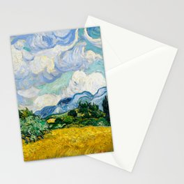 wheat field with cypresses 1889 by vincent van gogh Stationery Cards