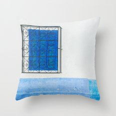 Two Blue Shuttered Windows Throw Pillow