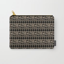 The lace pattern. Beige pattern on black background. Carry-All Pouch