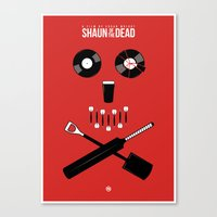 shaun of the dead Canvas Prints featuring Shaun of the Dead - Skull by Nick Kemp
