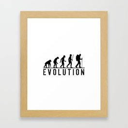 The Evolution Of Man And Hiking Framed Art Print