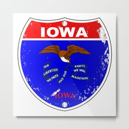Iowa Flag Icons As Interstate Sign Metal Print