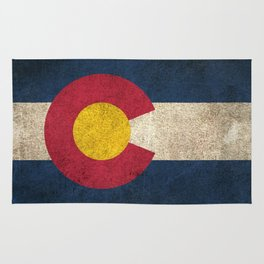 Old and Worn Distressed Vintage Flag of Colorado Rug