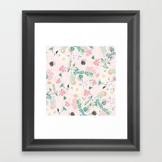 Modern pastel floral handdrawn blush pink illustration Framed Art Print