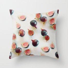 Fresh Figs on Linen Throw Pillow