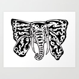 Black and White Elephant Butterfly Tribal Tattoo Art Print