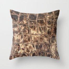 Alligator Skin // Tan and Brown Worn Textured Pattern Animal Print Throw Pillow