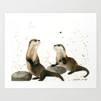 otters Art Prints featuring Otters by Priscilla George