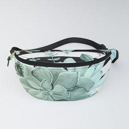 Succulents in the Garden Teal Blue Green Gradient with Black Stripes Fanny Pack