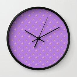 Deep Peach Orange on Lavender Violet Snowflakes Wall Clock