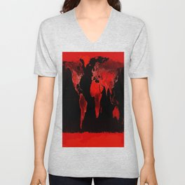 WORLD map : Red Unisex V-Neck