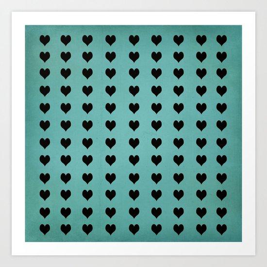 Rows Of Hearts (teal) Art Print