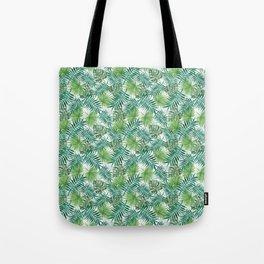 Mini Green Monstera Tropical Plant Pattern Tote Bag