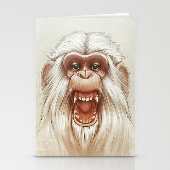 The White Angry Monkey Stationery Cards