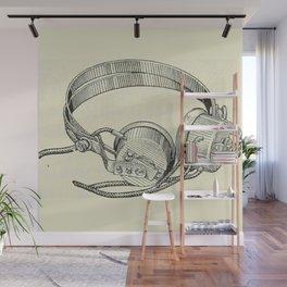 Old school headphones. Wall Mural