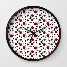 Ladybugs and Black Dots Wall Clock