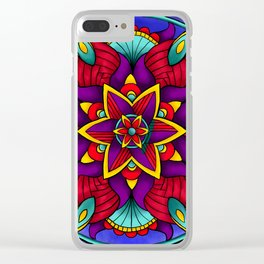 Colorful Flower Mandala Clear iPhone Case